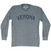 Verona City Vintage Long-Sleeve T-shirt in Athletic Grey by Mile End Sportswear