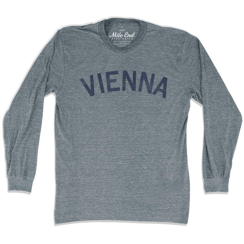 Vienna City Vintage Long-Sleeve T-shirt in Athletic Grey by Mile End Sportswear