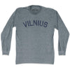 Vilnius City Vintage Long Sleeve T-shirt in Athletic Grey by Mile End Sportswear