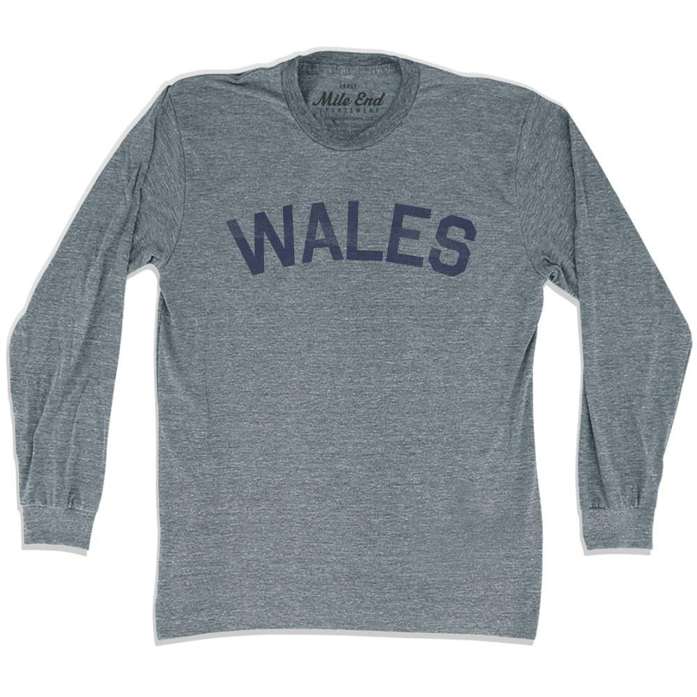 Wales City Vintage Long Sleeve T-shirt in Athletic Grey by Mile End Sportswear