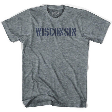 Wisconsin State Stencil Womens Tri-Blend T-shirt
