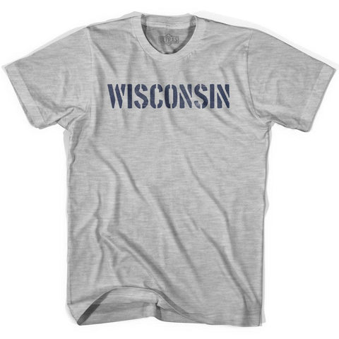 Wisconsin State Stencil Womens Cotton T-shirt