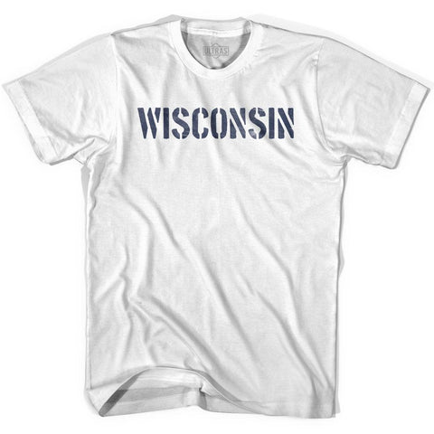 Wisconsin State Stencil Youth Cotton T-shirt