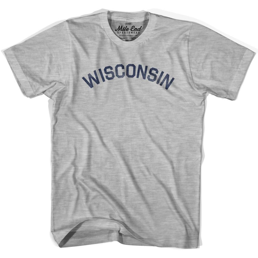 Wisconsin Union Vintage T-shirt in Grey Heather by Mile End Sportswear