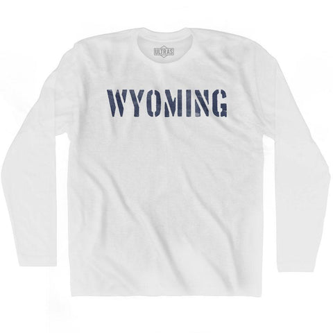 Wyoming State Stencil Adult Cotton Long Sleeve T-shirt