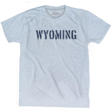 Wyoming State Stencil Adult Tri-Blend T-shirt