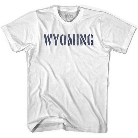 Wyoming State Stencil Womens Cotton T-shirt