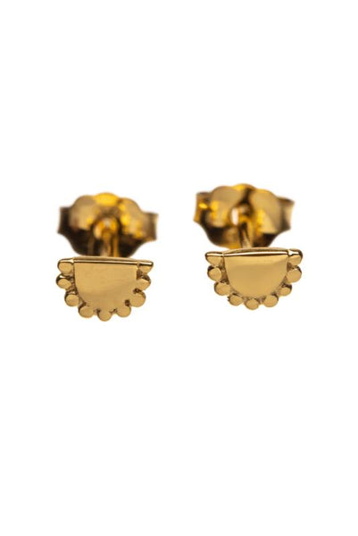Earring half round gold-plated