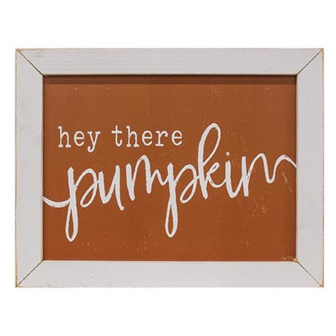 Hey There Pumpkin Print in White Wash Frame
