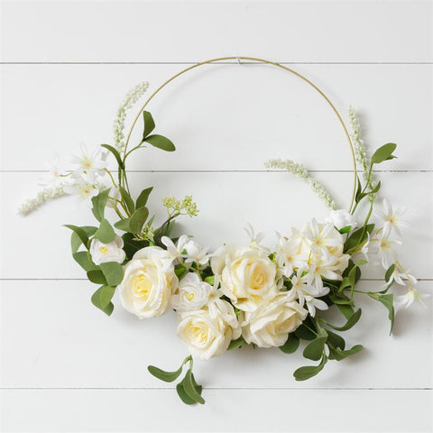 "Creamy Rose Faux Florals Gold Hoop 18"" Wreath"