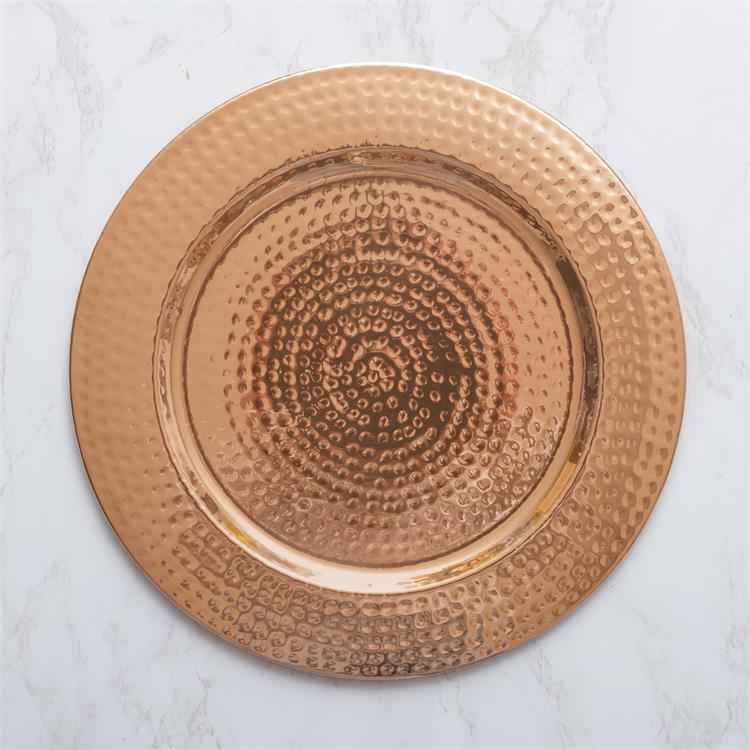 "Hammered Copper-Tone 13"" Charger Plate"