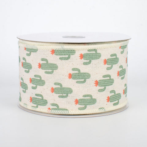 "Green Cactus on Cream Background Ribbon 2.5"" W x 10 yards"
