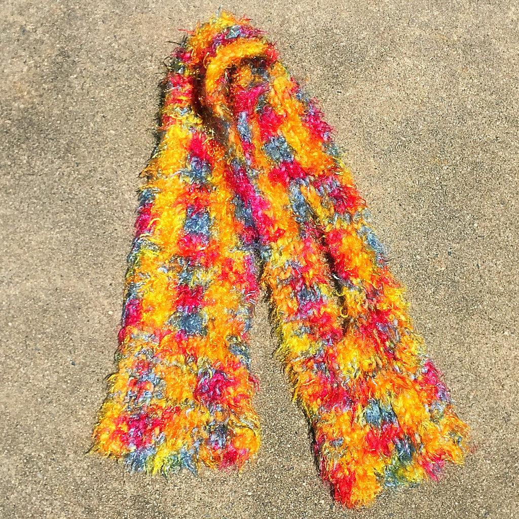 "Color Riot Hand Knit Short Scarf - 28"" inches long"