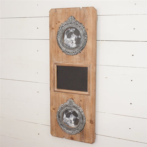 Double Picture and Chalkboard Vertical Wall Frame