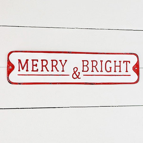 "Merry & Bright Distressed 20"" Street Sign"