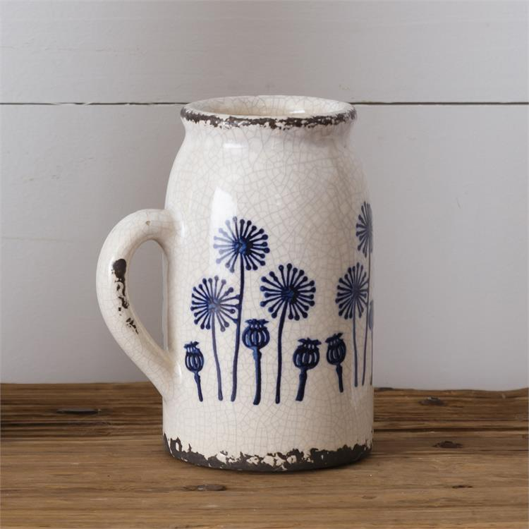 Blue Dandelion Pottery Vase with Handle