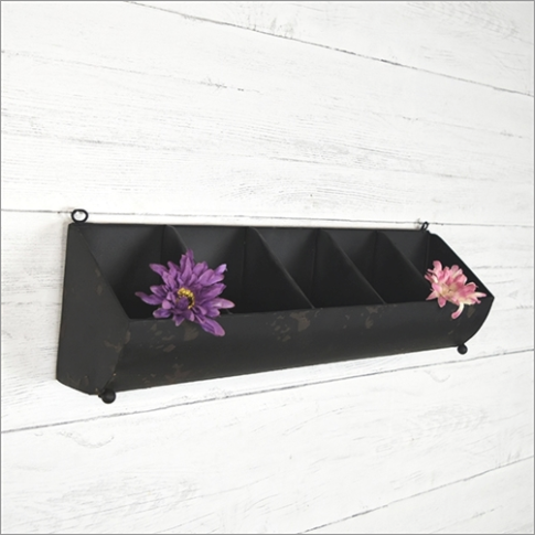 Rustic Black Five Pocket Tin Wall Organizer