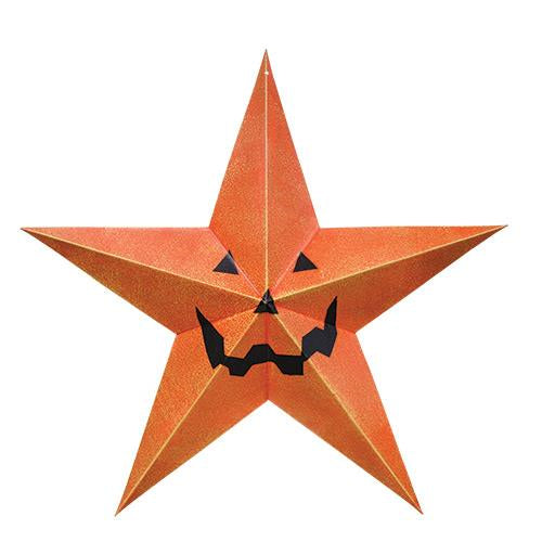 "Jack O' Lantern 12"" Orange Tin Star"