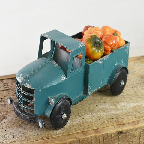 Teal Tin Retro Pick-Up Truck