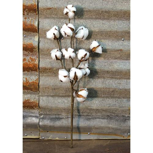 "Farmhouse Cotton Boll Spray 20"" Rustic Stem - 12 on stem"