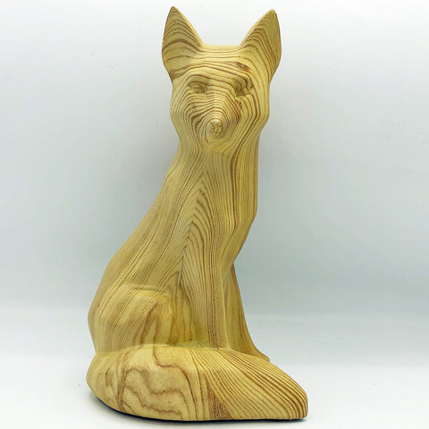 Natural Fox Resin Figure Wood Grain Look
