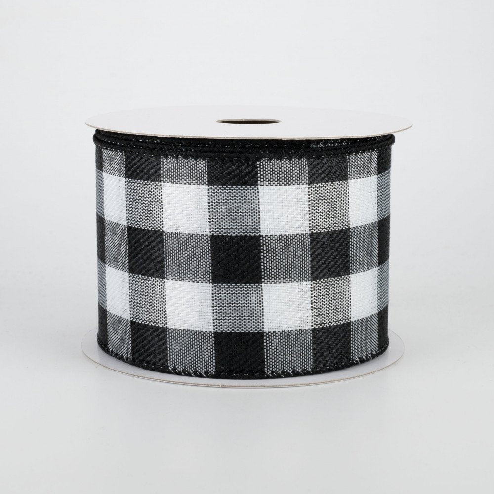 "Buffalo Check Plaid Black & White Ribbon 2.5"" x 10 yards"
