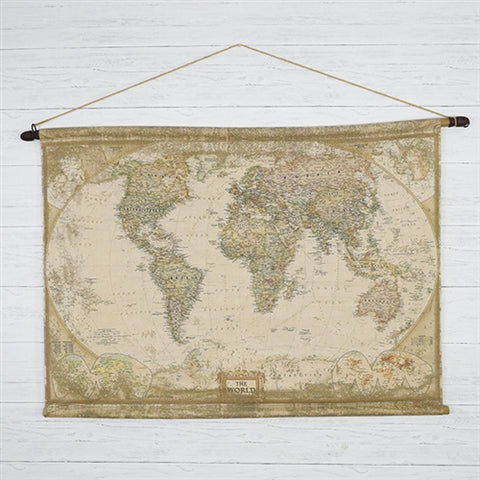 Large Old World Map Wall Hanging