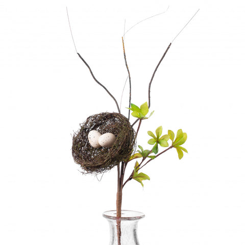 "Bird Nest on Leaves and Twigs Faux 28"" Spray"