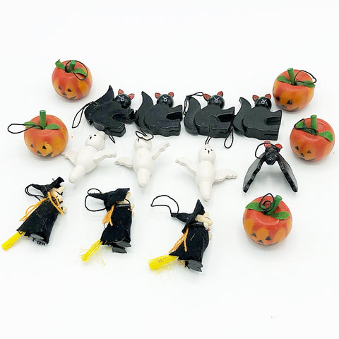 Set of Fifteen Wooden Mini Halloween Ornaments