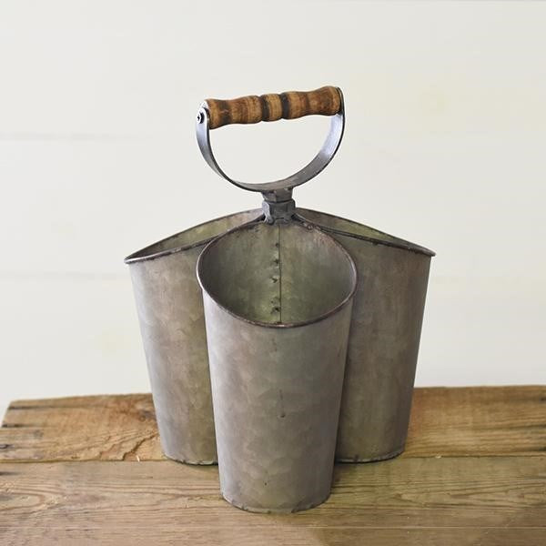 Galvanized Metal Triple Can Caddy