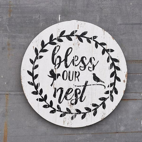 "Bless Our Nest 15.5"" Round Wooden Sign"