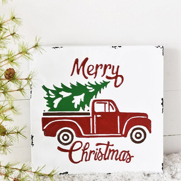 Merry Christmas Red Truck with Tree Distressed Metal Sign