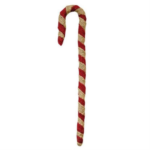 "Rustic Red and White 12"" Burlap Candy Cane"