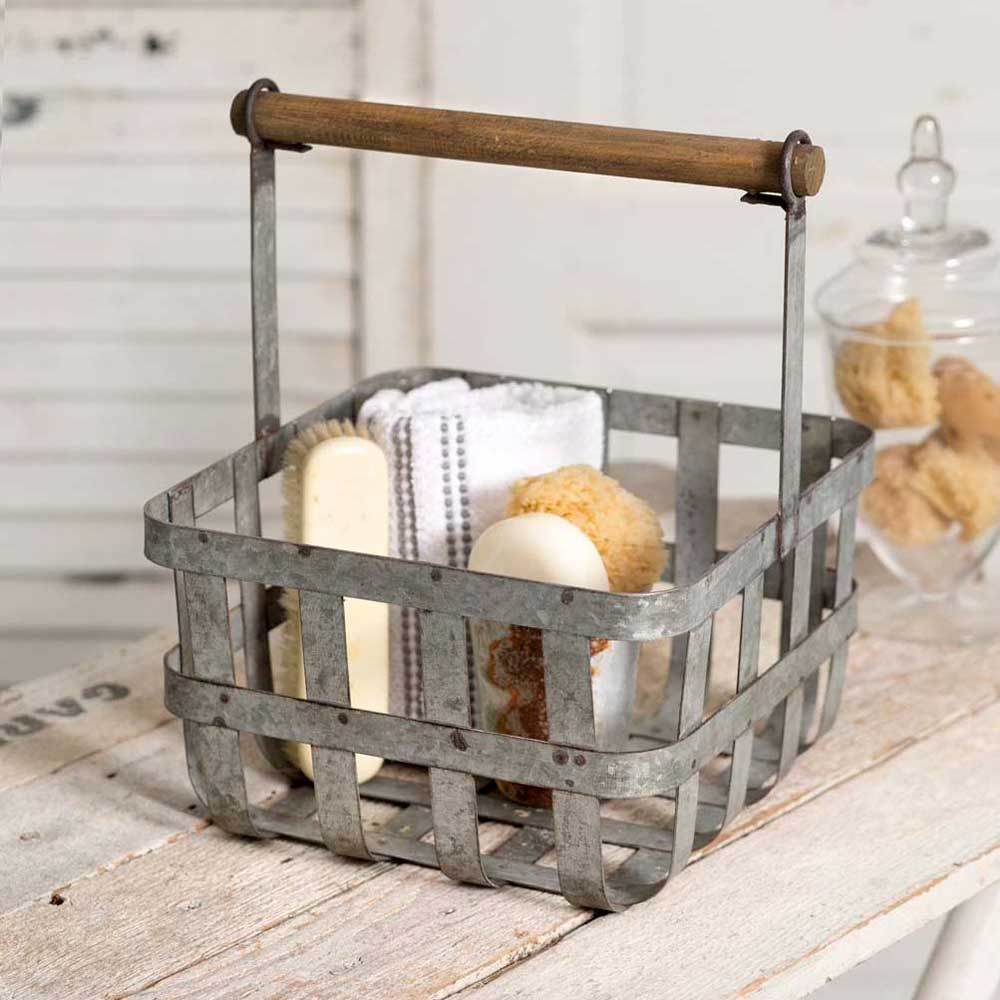 Salisbury Woven Metal Basket with Wood Handle
