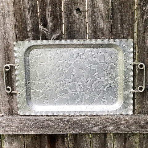 Embossed Aluminum Flowers & Leaves Tray