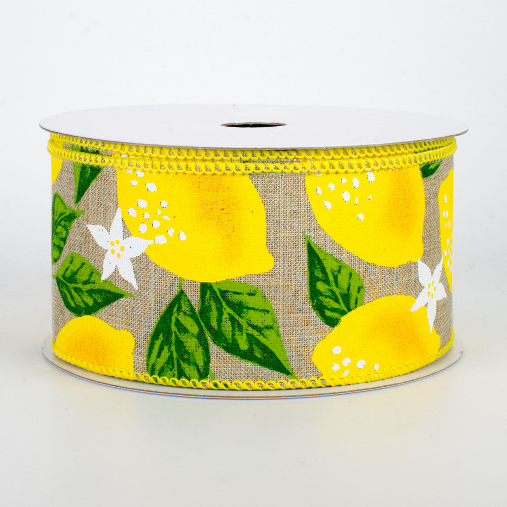 "Lemons and Lemon Blossoms on Natural Background Ribbon 2.5"" W x 10 yards"