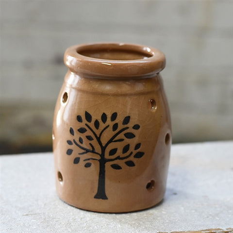"Natural Tree Stoneware Candle Holder 4"" H"