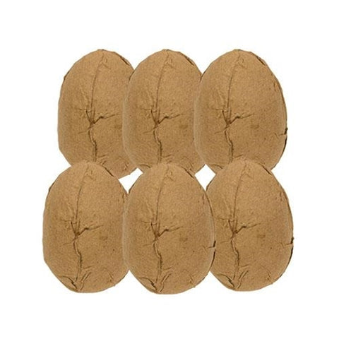 Set of 6 Large Brown Paper Eggs