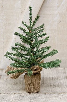 "Natural Mini Pine 9"" Tree with Burlap Base"