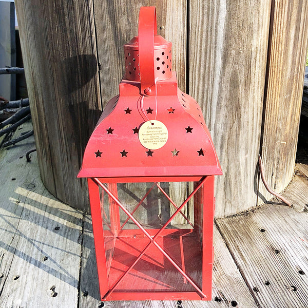 Red Square Star Cut Out Lantern