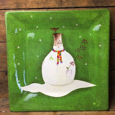 Sakura Snowmates Square Platter - green snowman with bird and berries design