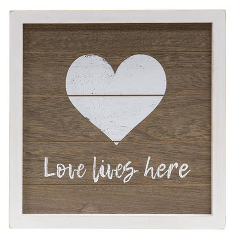 Love Lives Here - Farmhouse Framed Sign with Easel
