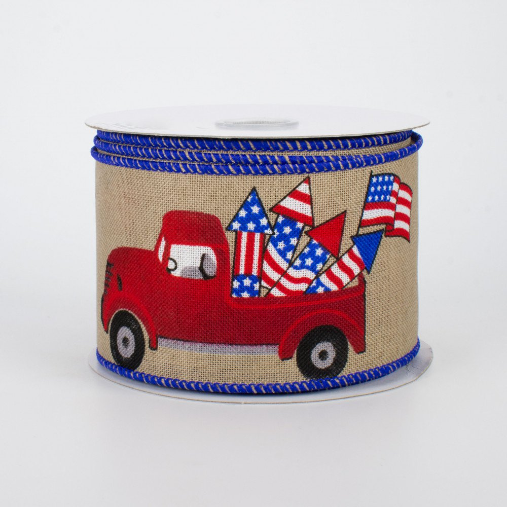 "Patriotic Vintage Truck on Tan Ribbon 2.5"" wide x 10 yards"