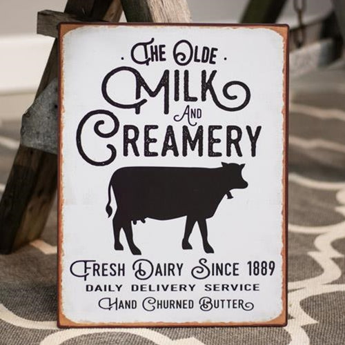 The Olde Milk & Creamery Distressed Metal Sign