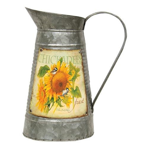 Galvanized Metal Sunflower Watering Can
