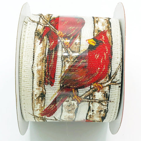 "Cardinal and Branches Ribbon 2.5"" W x 8.3 yards"