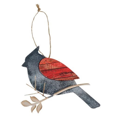 Natural Cardinal Wood and Metal Ornament