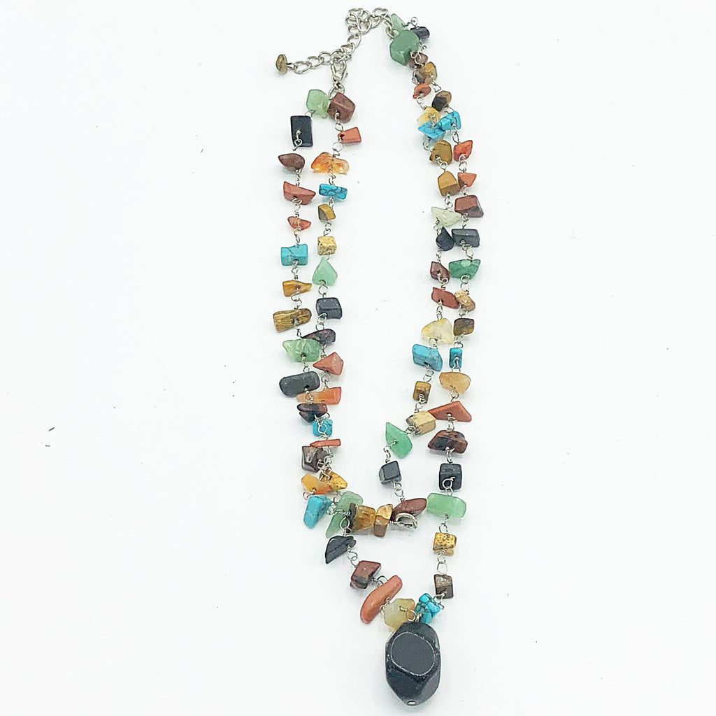 Natural Colorful Stones Double Strand Necklace