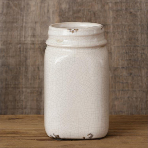"Crackle Mason Jar Pottery 6"" H Vase"