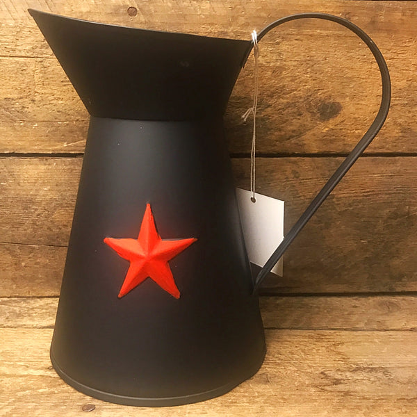 Black Tin Pitcher with Red Star